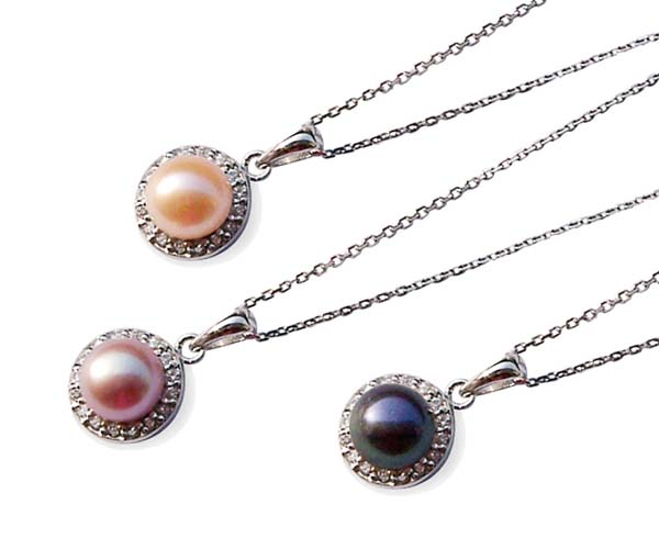 Pink, Mauve and Black 7-8mm Cultured Pearl Pendant in a 925 SS Setting, 16in Silver Chain