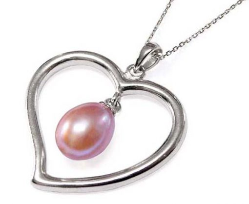 Mauve Large Heart Shaped Silver Pearl Pendant with Silver Necklace, 925 SS