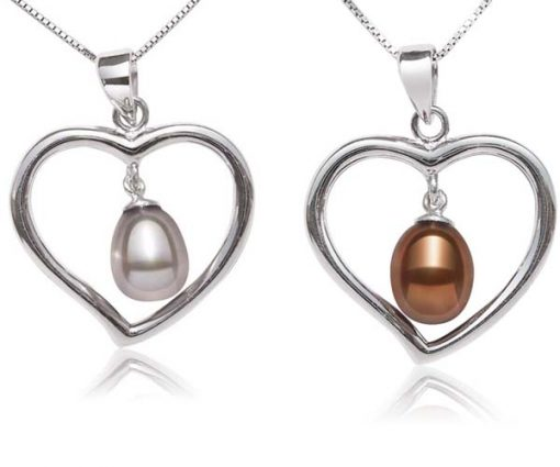 Grey and Chocolate Large Heart Shaped Silver Pearl Pendant with Silver Necklace, 925 SS