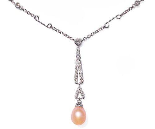 Pink 7-8mm Tear Drop Sterling Silver Necklace in CZ Diamonds, 16in