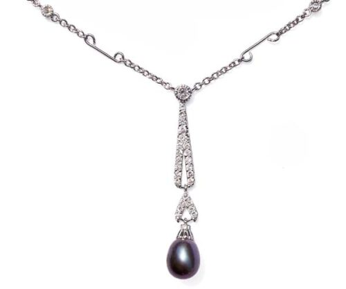 Black 7-8mm Tear Drop Sterling Silver Necklace in CZ Diamonds, 16in