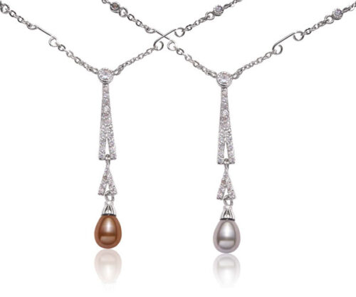 Chocolate and Grey 7-8mm Tear Drop Sterling Silver Necklace in CZ Diamonds, 16in