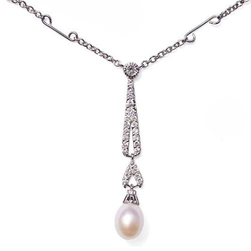 White 7-8mm Tear Drop Sterling Silver Necklace in CZ Diamonds, 16in