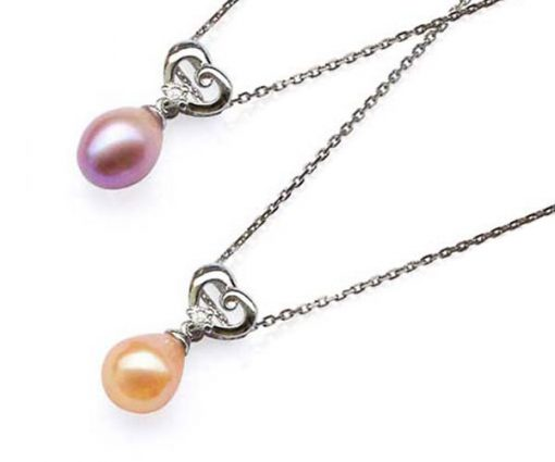 Pink and Mauve 7-8mm Genuine Drop Pearl Silver Pendant with Heart Bail