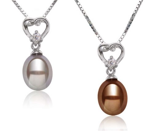 Grey and Chocolate 7-8mm Genuine Drop Pearl Silver Pendant with Heart Bail