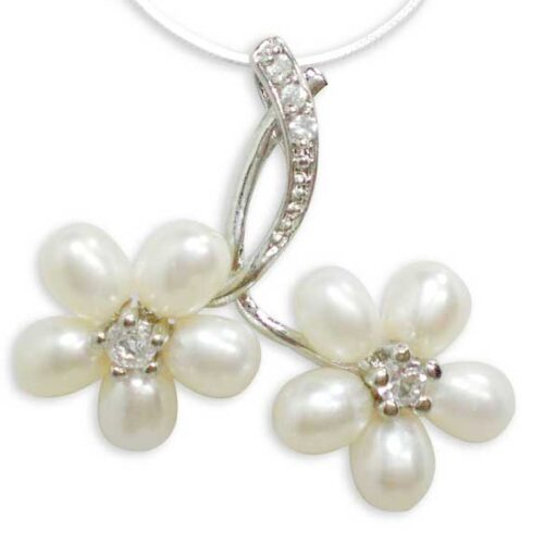 White 5-6mm Twin Flower Cluster Pearl Pendant. Free 16in SS Chain
