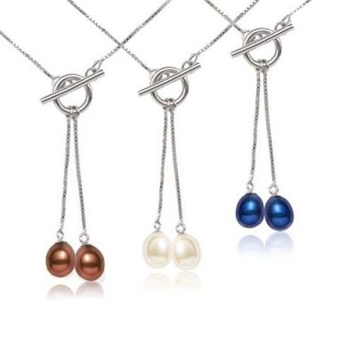 Chocolate, White and Navy Blue 18K WG overlay Dangling Drop Pearl Pendant with a Toggle Clasp