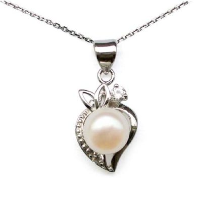 White 9mm Pearl Strawberry Shaped Silver Pendant