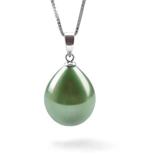 Peacock Green 13x16mm Drop Shaped SSS SS Pearl Pendant with a FREE SS Necklace