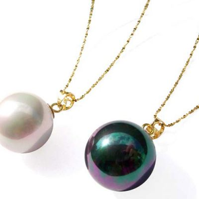 Grey and Black 10mm, 12mm or 14mm SSS Pearl Pendants in 14k Solid YG