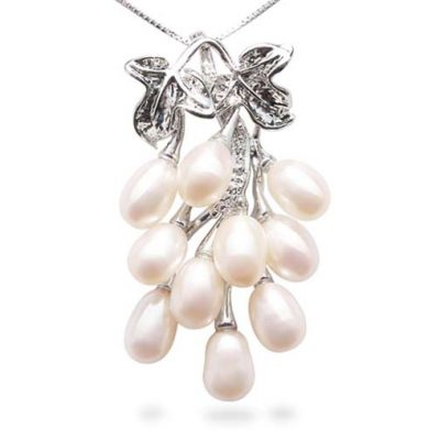 White 5-6mm Clustered 10 Pearl 16in SS Necklace