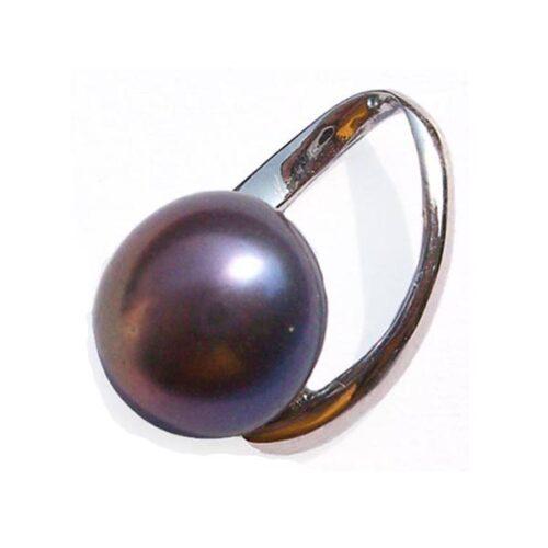 Black 10mm Pearl Silver Pendant