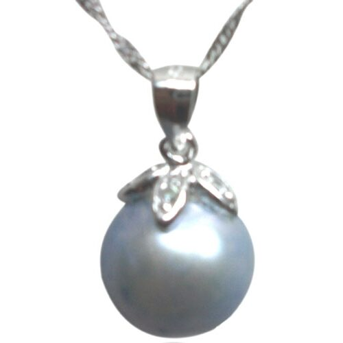 Light Blue Colored 10-11mm Round Pearl Pendant 925S Silver