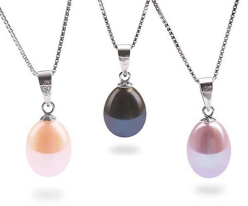 Pink, Black and Mauve 8-9mm Teardrop Pearl Silver Pendant