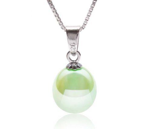 Light Green 8-9mm Teardrop Pearl Silver Pendant