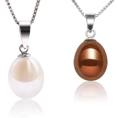 White and Chocolate 8-9mm Teardrop Pearl Silver Pendant