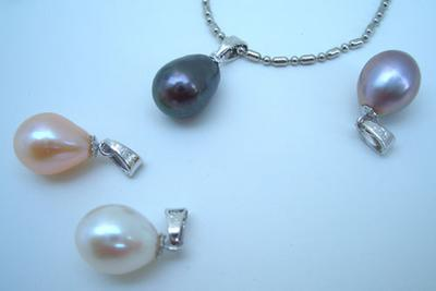 White, Black, Pink and Lavender 9-10mm AAA Large Drop Pearl Silver Pendant