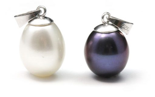 White and Black 9-10mm AAA Large Drop Pearl Silver Pendant