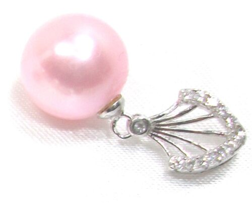 Baby Pink Completely Round AAA High Quality 10-11mm 925Sterling Silver Pendant