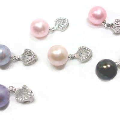 Pink, Blue, Black all colored Round AAA 10-11mm Pearl Pendant