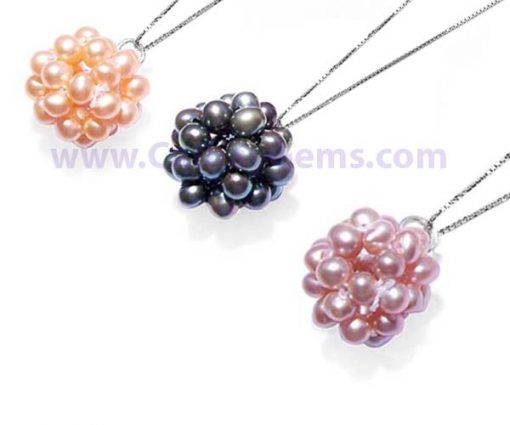 Pink, black and lavender 3.5-4mm Pearls Pendant FREE 16in Long Sterling Silver Chain