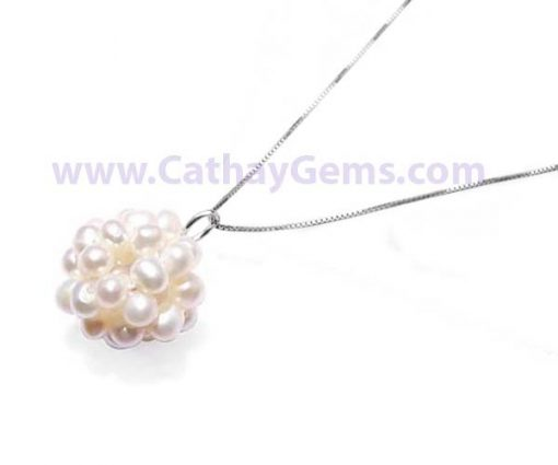 White 3.5-4mm Pearls Pendant FREE 16in Long Sterling Silver Chain