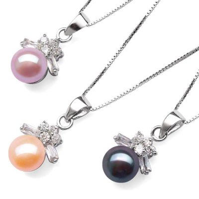 Mauve, Pink and Black 7-8mm Pearl 925 SS Pendant in Bowknot Design