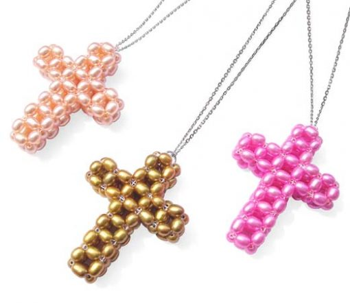 Pink, Dark Golden Rod and Hot Pink Rice Pearls Cross Pendant, SS Chain Included