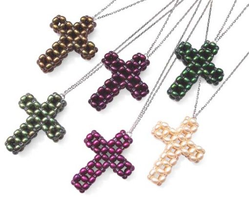 Chocolate, Cranberry, Dark Green, Dark Olive Green, Magenta and Champagne Rice Pearls Cross Pendant, SS Chain Included