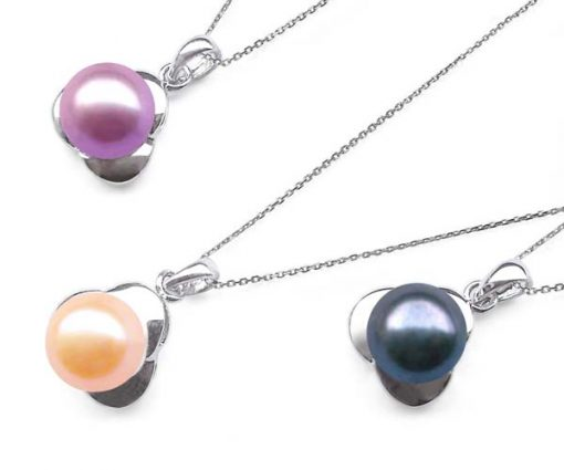 Pink, Mauve and Black 9.5mm SS Pearl Pendant
