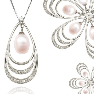 White 8-9mm Drop Pearl Pendant, 18K WG Overlay