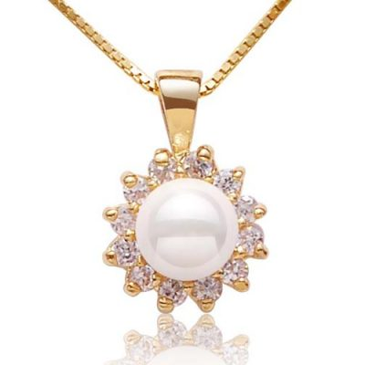 White 6mm Southsea Shell Pearl Pendant, 18K YG Overlay, Free Chain