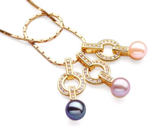 Black, Pink and Mauve 9-10mm Freshwater Pearl Pendant, 18K YG Overlay, Adjustable Chain