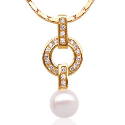White 9-10mm Freshwater Pearl Pendant, 18K YG Overlay, Adjustable Chain