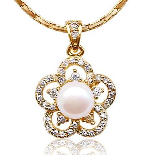 White Genuine 8-9mm Pearl Pendant in Flower Design, 18K YG Overlay