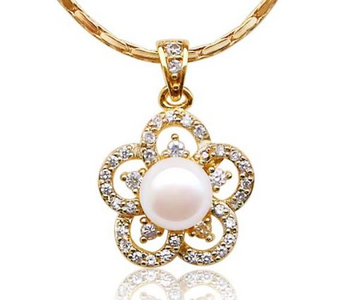 White Genuine 8-9mm Pearl Pendant in Flower Design, 18K YG Overlay