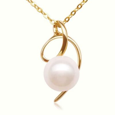 White 8-9mm AAA Round Pearl Pendant, 14K Solid YG