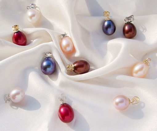 White, Pink, Mauve, Black, Chocolate and Cranberry 9-10mm Drop Pearl Pendant in 14K Gold
