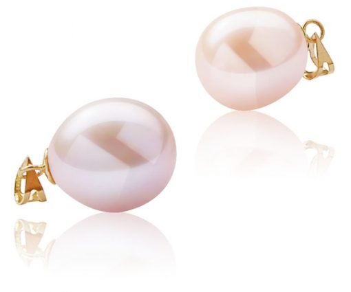 Mauve and Pink Colored 12-13mm Large Drop Pearl Pendant, 14K Solid Gold