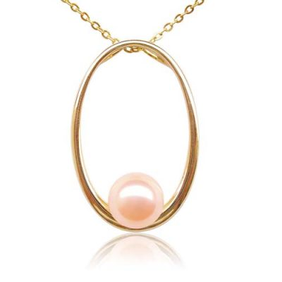 Pink 8-9mm Round Pearl in a 14k Solid YG Large Hoop Pendant
