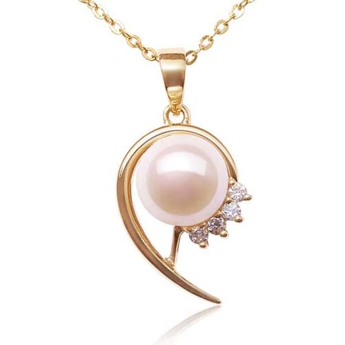 White 8-9mm Round Pearl Pendant with CZ Diamonds, 14k Solid YG