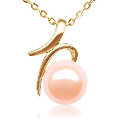 Pink Simple 8-9mm AAA Round Pearl Pendant, 14K Solid YG