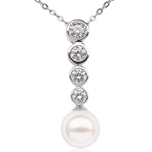 White 8mm 18K WG AAA Round Pearl Pendant with CZ Diamond