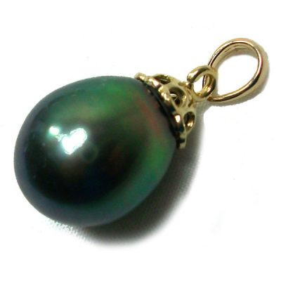 11mm Tahitian Drop Gold Pearl Pendant AAA Green Overtone