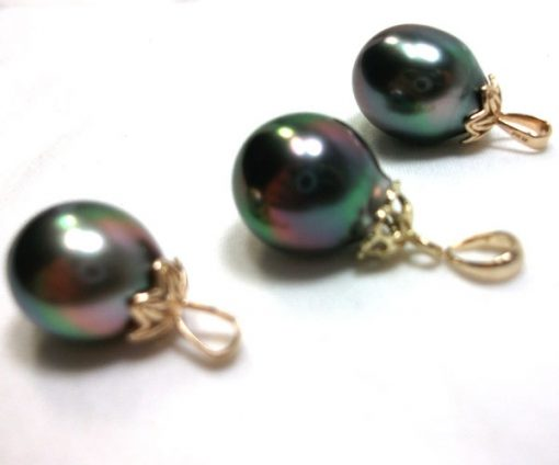11mm Tahitian Drop Pearl Pendant AAA High Quality 14KY Gold