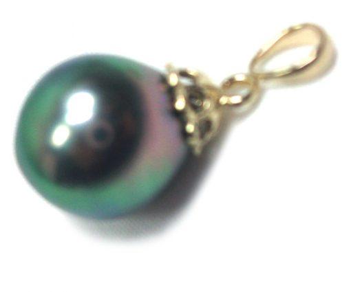 11mm Tahitian Drop Gold Pearl Pendant AAA Green Overtone