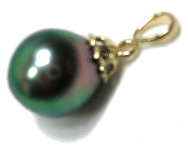 11mm Tahitian Drop Gold Pearl Pendant AAA Purple Overtone