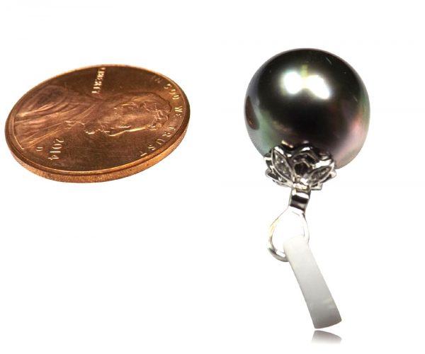 11.5mm Tahitian Peacock Black Pearl Pendant 14k White Gold