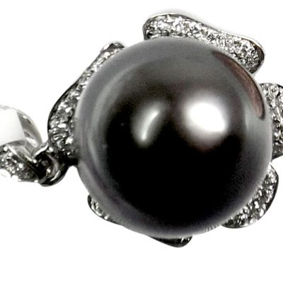 18K White Gold Diamond Tahitian Black Pearl Pendant