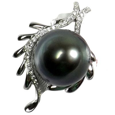 18KWG Diamond Tahitian Pearl Pendant